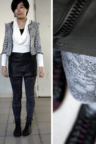 black jacket - white twopercent blouse - black chapel skirt - silver chapel legg