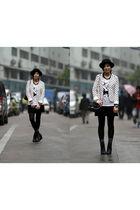 black 5cm hat - black chapel dress - white chapel t-shirt - white DIZEN blazer -