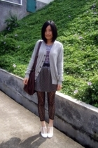 Uniqlo - 50cent t-shirt - TH belt - handmade skirt - leggings - on & on shoes