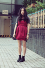 Black-bata-boots-ruby-red-wingfree-dress-black-paper-mint-bag
