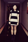 Black-bata-boots-beige-striped-h-m-dress-black-paul-smith-socks
