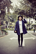 black asos shoes - navy coat - navy asos hat - white shirt - black bag