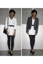 TH blazer - Giordano Concepts dress - TH belt - prezzo purse - H&M leggings - sh