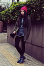Navy-choc-boutique-boots-hot-pink-h-m-hat-army-green-hello-miffy-jacket
