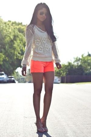 carrot orange shorts - beige cardigan