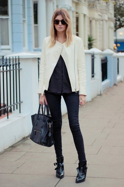 white blazer - black bag