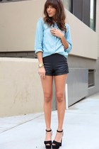 light blue blouse - black shorts