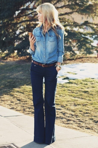 sky blue blouse - navy jeans