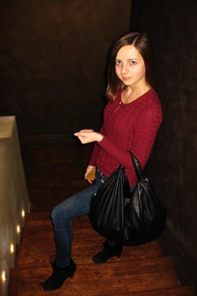 crimson colins sweater - black Braska boots - navy LTB jeans - black ecco bag