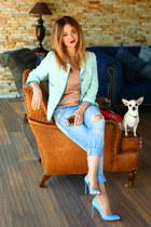 Zara jeans - Zara jacket - Christian Louboutin heels - Gucci top