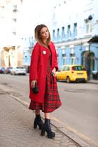 Celine coat - Celine boots - Moschino dress - Bottega Veneta bag