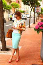 Zara skirt - Hermes blazer - Hermes bag - H&M sunglasses - Aldo heels - Zara top