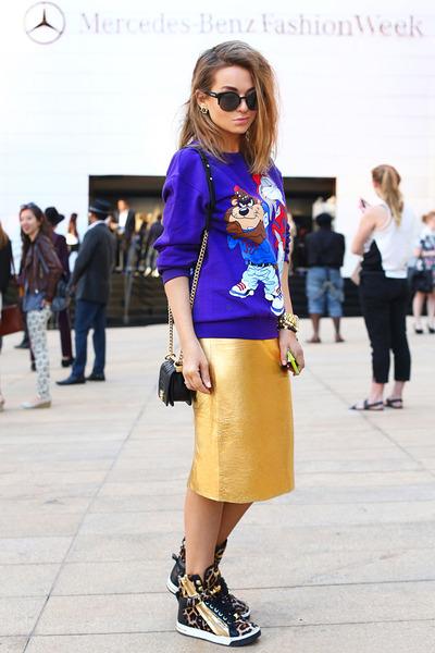 Zara skirt - Chanel bag - Michael Kors sneakers - Urban Outfitters sweatshirt