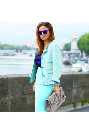 Zara blazer - dior bag - Topshop sunglasses - Zara skirt - Zara top