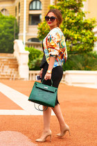 Hermes bag - Hermes jacket - Zara top - Zara skirt - Aldo heels