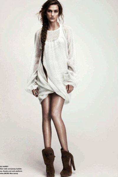 brown shoes - white dress