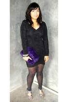 black K2 dress - black stockings - purple thrifted - gray shoes - silver accesso