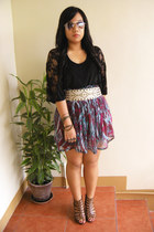 dark brown wedges privilged shoes - magenta thrifted skirt - eggshell studded Pe