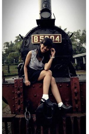 black Zara boots - white tomkins socks - white China blouse
