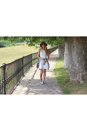 white Pimkie dress - black Converse shoes - light brown H&M hat