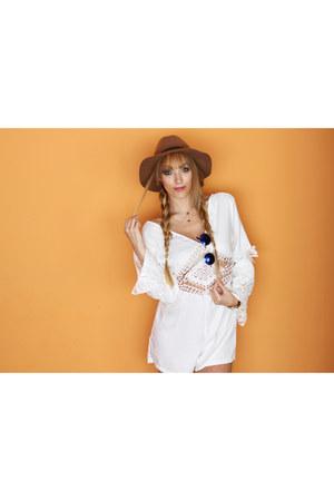 blue JollyChic sunglasses - light brown H&M hat - white JollyChic jumper