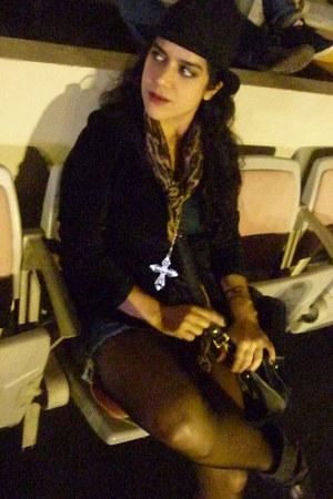 DO it necklace - Denim Lab boots - black velvet axxs jacket - scarf