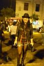 Leather-ecco-boots-vintage-spain-hat-black-leather-basement-jacket