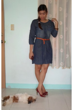 navy denim dress unknown brand dress - tawny braided vintage belt