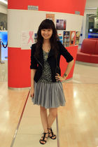 black Forever 21 jacket - gray sash skirt - black Charles & Keith shoes - gold r