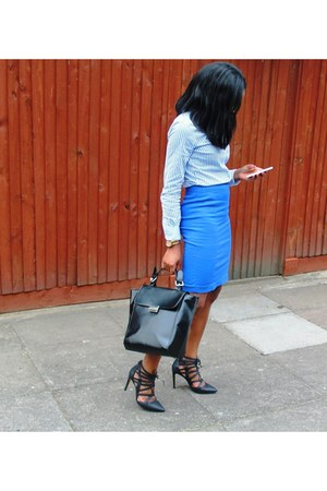 blue fitted Zara suit
