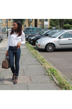 blue Topshop jeans - white new look shirt - Louis Vuitton bag