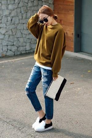 navy Seoul Fashion jeans
