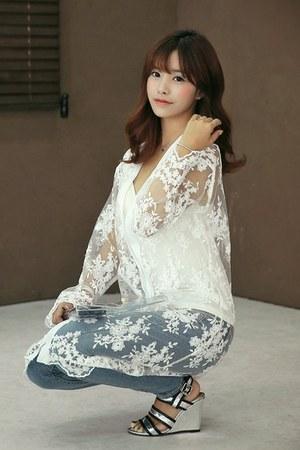 sheer lace long HOTPING cardigan
