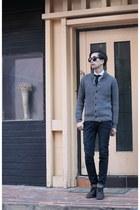 charcoal gray rib-knit MODSLOOK cardigan