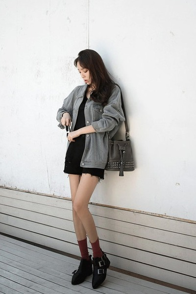 gray loose-fit denim WHITE FOX jacket