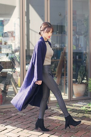 navy open-front knit HOTPING cardigan