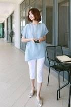 sky blue elastic-waist click top