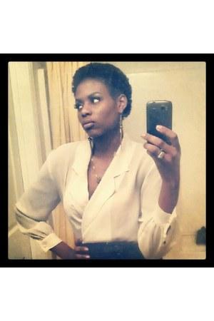 beige wraped silk blouse - black high waisted skirt