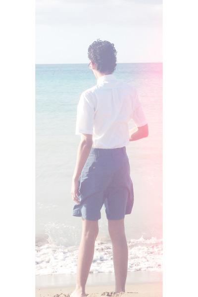 white George shirt - navy roundtree and yorke shorts