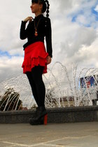 black Juicy Couture shirt - red Zara skirt