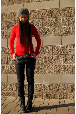 red Zara sweater - Jeffrey Campbell boots - Marc Jacobs bag - black Zara pants