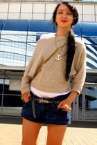gold sequins Splendid sweater - Zara shorts - Jeffrey Campbell sneakers