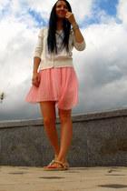 light pink pleated Zara skirt - ivory Heritage sweater