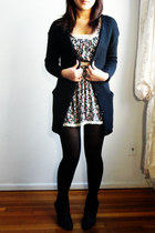 floral dress Forever 21 dress - black wedge booties Steve Madden boots