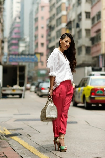 white blouse - off white bag - chartreuse heels - salmon pants