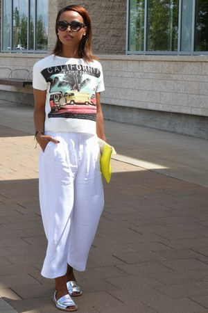 yellow Gap bag - white Zara pants