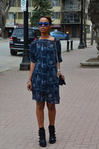 black chiffon American Apparel dress - blue bcbg max azria glasses