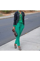 leather DKNY bag - DKNY pants - banana republic heels - chiffon garage blouse