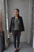 army green Zara blouse - black Joe Fresh pants
