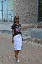 white Zara skirt - dark gray Forever 21 t-shirt